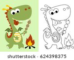 vector cartoon of little dragon ... | Shutterstock .eps vector #624398375