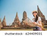 travel thailand ayutthaya... | Shutterstock . vector #624409031