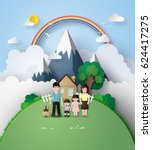 paper art of happy family... | Shutterstock .eps vector #624417275