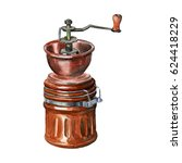 manual vintage coffee grinder ... | Shutterstock . vector #624418229