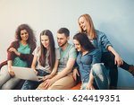 group of people are looking to... | Shutterstock . vector #624419351