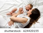 portrait of a beautiful mother... | Shutterstock . vector #624420155