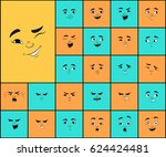 cartoon faces with different... | Shutterstock .eps vector #624424481