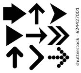 black arrows set. up and right... | Shutterstock . vector #624427001