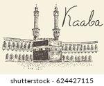 holy kaaba in mecca saudi... | Shutterstock .eps vector #624427115
