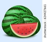 watermelon on a light... | Shutterstock .eps vector #624427661