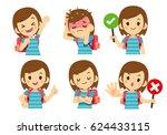 vector set of tourist  traveler ... | Shutterstock .eps vector #624433115
