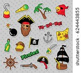 pirates badges  patches and... | Shutterstock .eps vector #624443855
