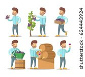 winemaker cartoon with grapes... | Shutterstock .eps vector #624443924