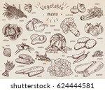 vegetable menu  garlic ... | Shutterstock .eps vector #624444581