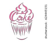 contour of the cake with the... | Shutterstock .eps vector #624445151