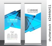 blue roll up business brochure... | Shutterstock .eps vector #624446411