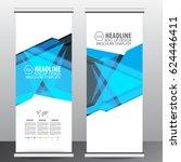 blue roll up business brochure... | Shutterstock .eps vector #624446411