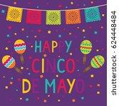cinco de mayo card with maracas ... | Shutterstock .eps vector #624448484