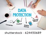 data protection concept. the... | Shutterstock . vector #624450689