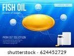 fish oil yellow capsules ocean...   Shutterstock .eps vector #624452729