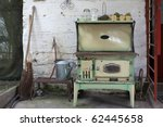 Old Wood Stove On A Farm In...