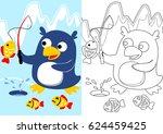 vector cartoon of penguin...   Shutterstock .eps vector #624459425