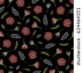 embroidery seamless floral... | Shutterstock .eps vector #624464351