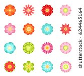flat style different flowers in ... | Shutterstock .eps vector #624465164