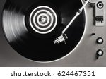 a vinyl record close up on a... | Shutterstock . vector #624467351