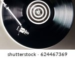 a vinyl record close up on a... | Shutterstock . vector #624467369