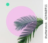 tropical palm leaves on bright... | Shutterstock . vector #624468911