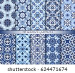 ten seamless patterns in... | Shutterstock .eps vector #624471674
