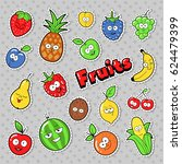 funny fruits emoticons badges ... | Shutterstock .eps vector #624479399