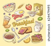 hand drawn breakfast doodle... | Shutterstock .eps vector #624479495