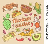 mexican cuisine traditional... | Shutterstock .eps vector #624479537
