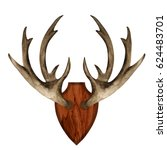 watercolor antlers on wooden... | Shutterstock . vector #624483701
