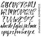 hand drawn dry brush font.... | Shutterstock .eps vector #624484211