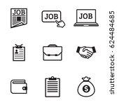 job icons set. black on a white ... | Shutterstock .eps vector #624484685