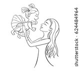 mother and daughter outline... | Shutterstock .eps vector #624484964