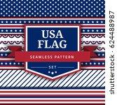 usa flag themed seamless... | Shutterstock .eps vector #624488987
