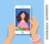 woman holding mobile phone....   Shutterstock .eps vector #624496991