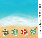 beautiful beach with waves  rip ...   Shutterstock .eps vector #624504101