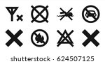 set of 8 no filled icons such... | Shutterstock .eps vector #624507125