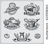 set of bakery labels  badges ... | Shutterstock .eps vector #624508361