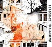 watercolor  ink  digital. city... | Shutterstock . vector #624509681