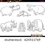 black and white cartoon vector... | Shutterstock .eps vector #624511769