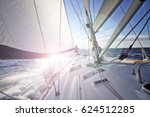 sailing into the sun in croatia | Shutterstock . vector #624512285