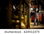 caucasian warehouse worker with ... | Shutterstock . vector #624512375