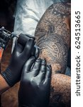 tattoo artist showing process... | Shutterstock . vector #624513665