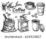 coffee hand drawn collection.... | Shutterstock .eps vector #624513827
