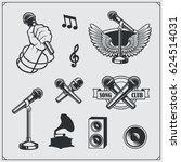 vector set of karaoke vintage... | Shutterstock .eps vector #624514031