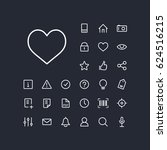 heart icon in set on the black... | Shutterstock .eps vector #624516215