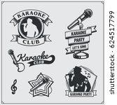 vector set of karaoke vintage... | Shutterstock .eps vector #624517799
