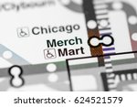 Small photo of Merch Mart Station. Chicago Metro map.